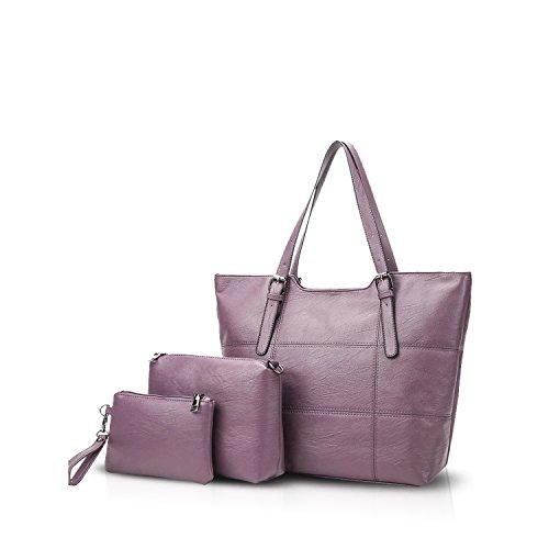 NICOLE&DORIS Mode Bolsos de Mano para Mujer Monederos Bolso Crossbody Mujer Bolso de Bandolera 3PCS Bolsa Durable PU Rojo Púrpura