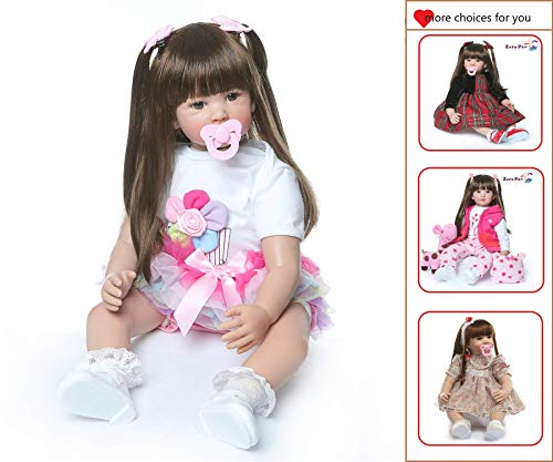 Zero Pam Binxing Toys Reborn Baby Dolls Toddler Realistic Girl 24 Inch 60cm Real Looking Baby Silicone Limbs and Head Soft Cloth Weighted Body 6-12M Bebe Feel with Beautiful Princess Dress (1902)