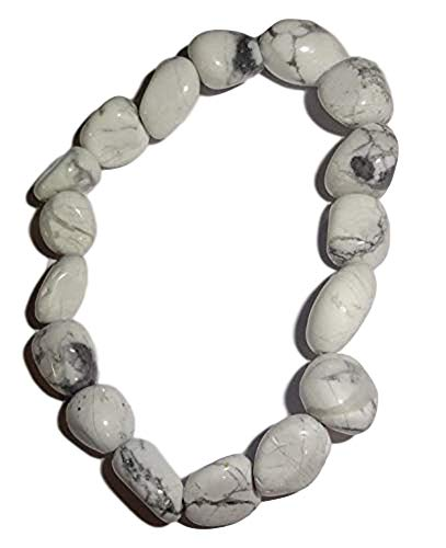 - Sublime Gifts 1pc White Howlite Premium Quality Tumbled Crystal Healing Gemstone 6-8 Mm Nugget Beaded Stretch Bracelet