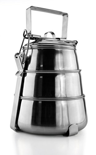 Stainless Steel Tiffin, 3-Tiered Metal India-Style Lunch Box / Bento / Cookie Container