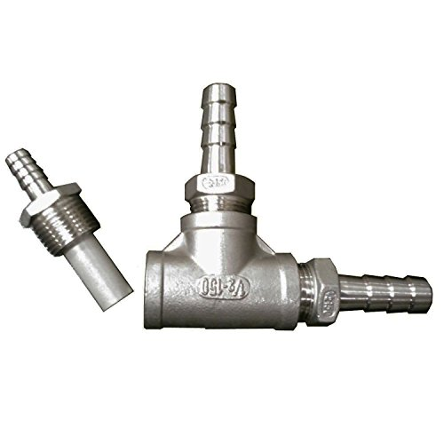 HomeBrewStuff Home Beer Brewing Stainless Steel Inline Aeration/Oxygenation Diffusion Stone Assembly for Kettle, Wort Chiller, or Pump (Source Co2 Air)