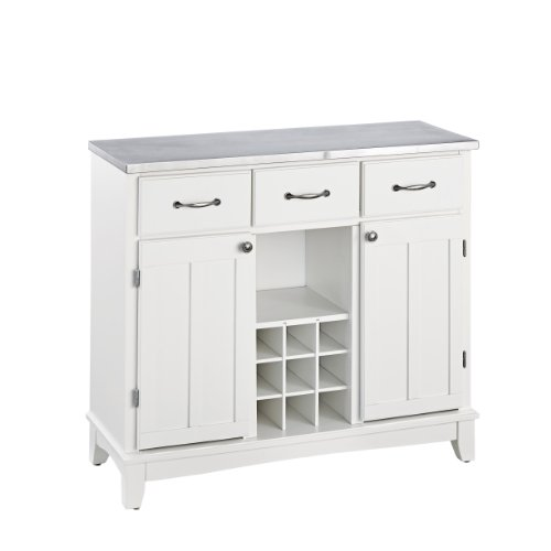 - Buffet of Buffets White with Stainless Steel Top by Home Styles