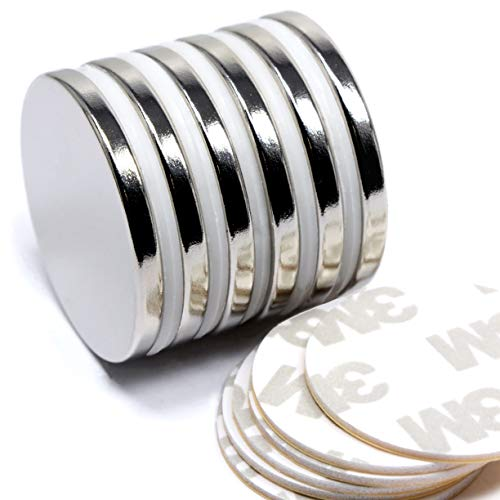 CMS Powerful Disc Magnets Rare Earth Neodymium magnets At 1.26 X 1/8 Th 6 Pack With Adhesive Pads & Integrated Safety Magnet Spacers Protect Your Magnets From Chipping & Breaking