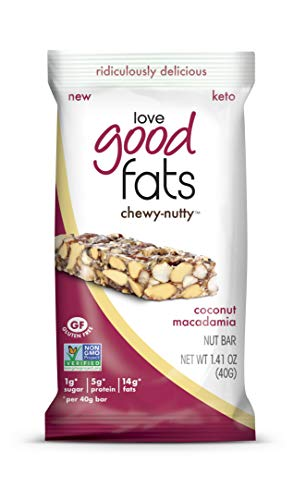 Love Good Fats Plant-Based Bars Chewy-Nutty Coconut Macadamia Keto-Friendly Protein Bar with Natural Ingredients Low Sugar, Low Carb, Non GMO, Gluten Soy Free Snacks for Ketogenic Diets 12ct