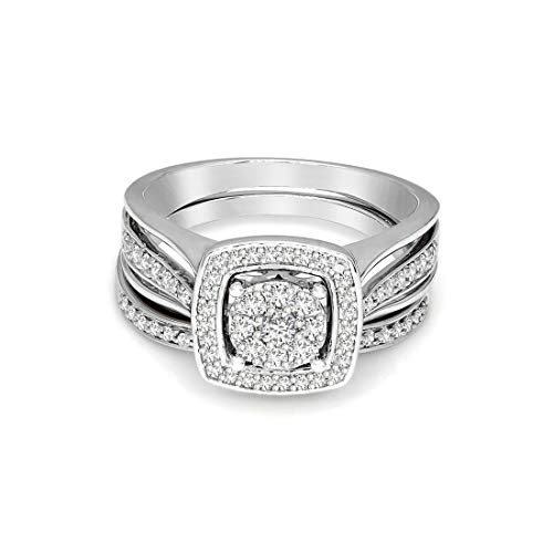 100% Pure Diamond Ring Luxury Diamond Wedding Ring Natural Diamond Rings 10K White Gold Real Diamond Rings for Women 3/8 Carat I2-I3-HI Real Diamond Rings Size: 5.5 (Diamond Jewlery Gifts For Women)