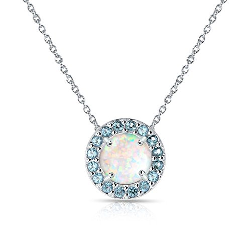 Sterling Silver Simulated White Opal and Simulated Blue Topaz Round Halo - Pendant Blue Bracelet Topaz