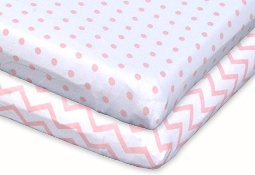 Ely's & Co Pack n Play, Portable mini Crib Sheet Set 100% Jersey Cotton Pink Chevron and Polka Dots for Baby Girl, 2 Pack by Ely's & Co (Image #1)