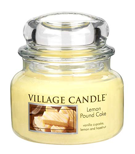 Village Candle Lemon Pound Cake 11 oz Glass Jar Scented Candle, Small -