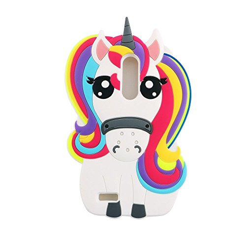 ZTE Zmax Pro Case, ZTE Carry Z981 Cover , 3D Cartoon Cute Rainbow Unicorn Horse Shaped Animal Soft Silicone Bumper Back Skin for ZTE Zmax Pro / Carry Z981 6.0