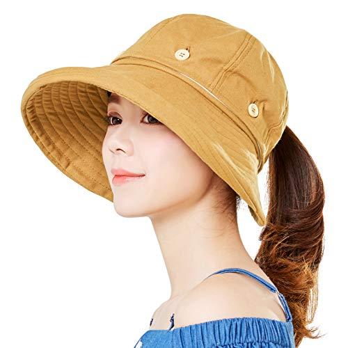 Womens Reversible Sun Hat Visor Uv Protection Wide Brim Floppy Packable Ponytail Summer Outdoor Beach Bucket Caps Khaki ()