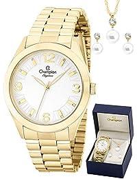 Kit Relógio Champion Dourado + Brincos e Colar Cn25216w
