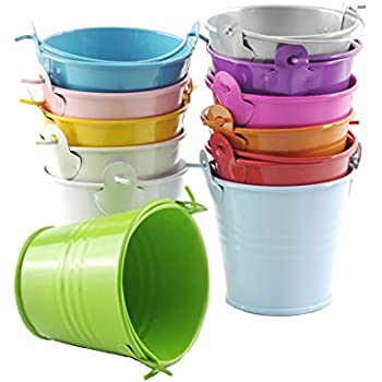 amazon com b s feel pack of 6 mini metal buckets tin party pail