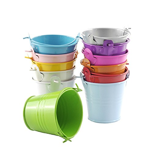 B&S FEEL Pack of 6 Mini Metal Buckets Tin Party Pail Containers, Assorted Color -