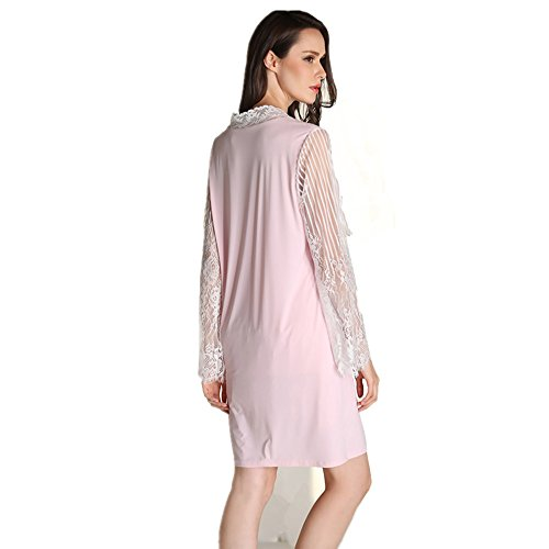 Missley Mujer Ultra - Fibra fina Sling Nightwear Cómoda Lace Pijamas Falda Nocturna Respirante Dos Piezas Pyjamas Light Pink