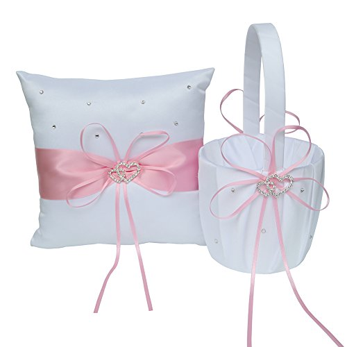 Wedding Satin Rose Flower Heart - ARKSU Flower Girl Basket 5x8.5 inch and Ring Pillow 7.8x7.8 inch decorated with Satin Ribbon and 2 Heart Rhinestones for Rustic Wedding Shower Ceremony Party-Pink