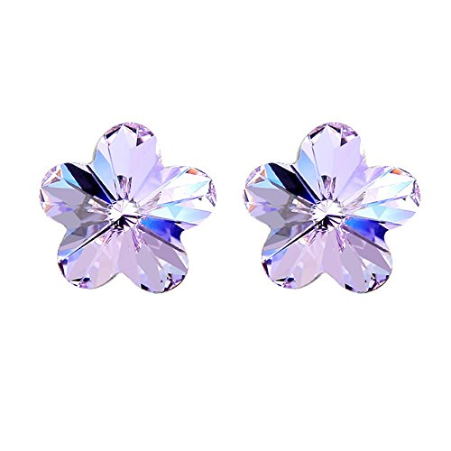 [YuanS Silver-Plated Alloy Austrian Flower Purple Crystal Earrings Stud for Women Fashion Jewelry] (Simple Halloween Costumes For High School)