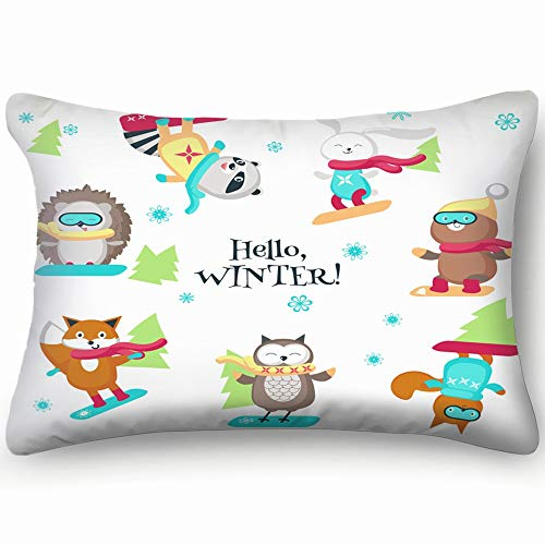 best bags Cute Animals Enjoying Snowboarding Wildlife Active Signs Symbols Skin Cool Super Soft and Luxury Pillow Cases Covers Sofa Bed Throw Pillow Cover with Envelope Closure 1624 Inch