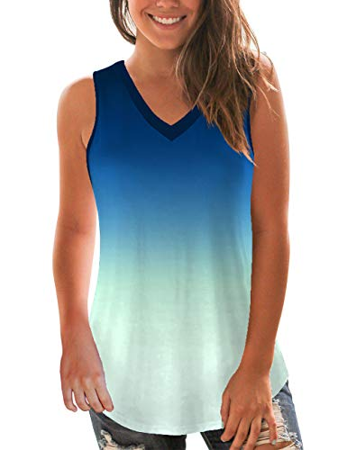 NIASHOT Womens Summer Tank Tops Sleeveless Casual Blouses Loose Fitting V-Neck T-Shirt S Day Womens V-neck T-shirt