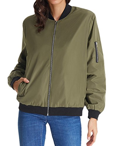 Women's Vasity Plain Hip Hop Patch Fit Pilot Bomber Jacket(L Army Green) by Kate Kasin