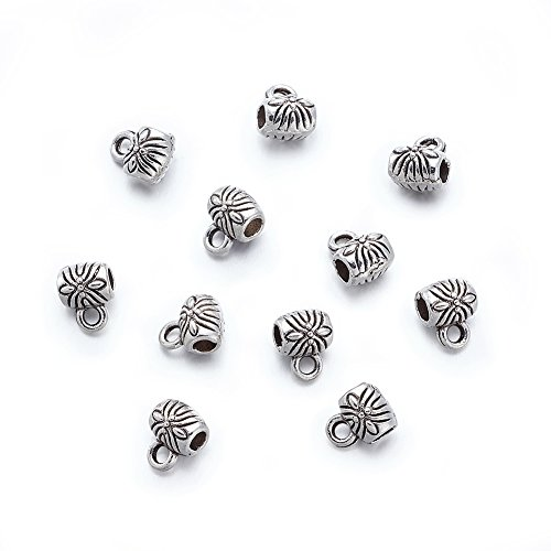 (Beadthovne 100pcs Tibetan Style Bail Beads with Loop Hole to Hang Charms for Jewelry European Bracelet Pendant Accessory Supplies Antique Silver Barrel Connectors Spacer)