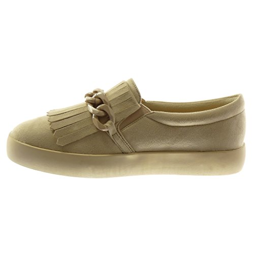 Angkorly Damen Schuhe Sneaker Mokassin - Sneaker Sohle - Fransen - Kette Flache Ferse 2.5 cm Beige