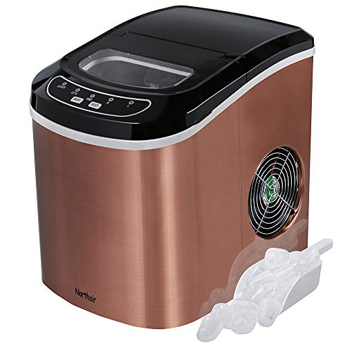 Northair Portable Ice Maker Machine Counter Top with 26lbs Daily Capacity, Stainless Steel Compact Ice Cube Makers for RV Camping Home Kitchen Office HZB-12/SA (Copper)