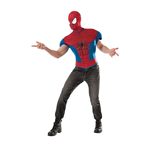 Rubie's Costume Men's Marvel Universe, The Amazing Spider-man 2 Muscle-chest T-shirt Costume Top, Multicolor, One (Spiderman Cosplay For Sale)