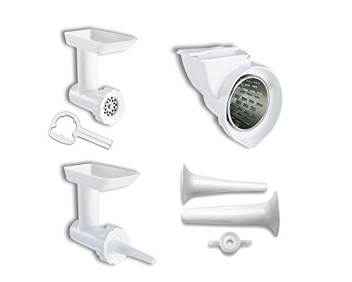 KitchenAid KGSSA Mixer Attachment Pack with Sausage Stuffer Kit for Stand Mixers White
