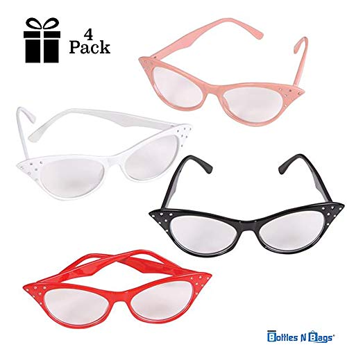 4 Pairs of Cat Eye Glasses with Rhinestones | Retro Cateye Stylish Glasses for 50s & 60s Costumes ● Black, Red, White, Pink