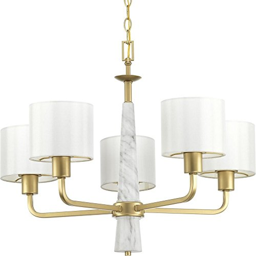 Marble Chandelier White Gold - Progress Lighting P400098-078 Palacio Five-Light Chandelier, Gold