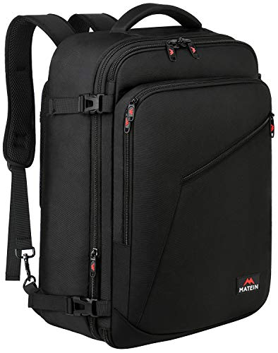 Matein Carry on Backpack, Extra Large Travel Backpack Expandable Flight Approved Weekender Bag for Men and Women, Water Resistant Lightweight Daypack for Airplane 40L, Black (Best Travel Luggage Backpack)