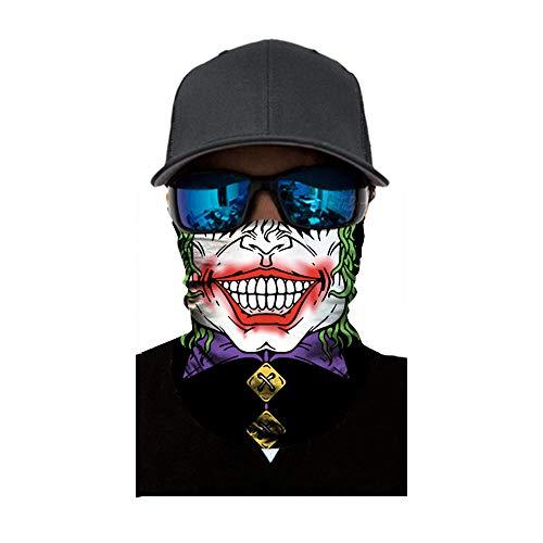 Sunshinehomely Halloween Horror Headkerchief, Clown Cycling Motorcycle Neck Tube Ski Scarf Face Mask Balaclava Halloween Party (D)]()