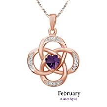 """Celtic Knot Birthstone Pendant Necklace In Rose Gold Over Sterling Silver W/Chain 18"""""""