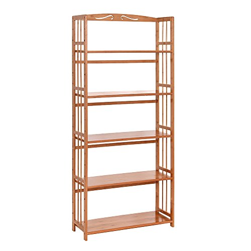 100% Natural Bamboo Bookshelf, Multi-Layer Landing Storage Rack, Simple Removable Student Bookcase (5-Tier)