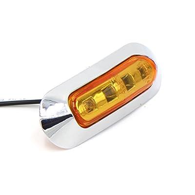 TMH 10 pcs 3.6 Inch Submersible 4 LED Amber Lens Light Side Led Marker 10-30v DC, Truck Trailer Marker Lights, Marker Light Amber, Rear Side Marker Light, Boat Cab RV: Automotive