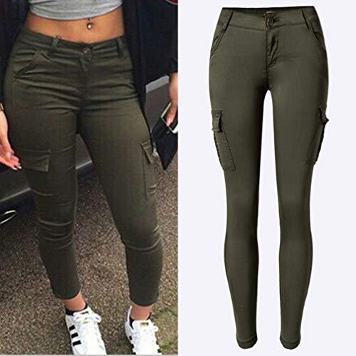 Tasche Push Streetwear 2 Up Comodi Pantaloni con Slim Moda in Vita Unita Verde Fit Pantaloni Taglie Casuale Forti Lungo Hip Donna Pantaloni Tinta Elastico gAOwH6cyvq