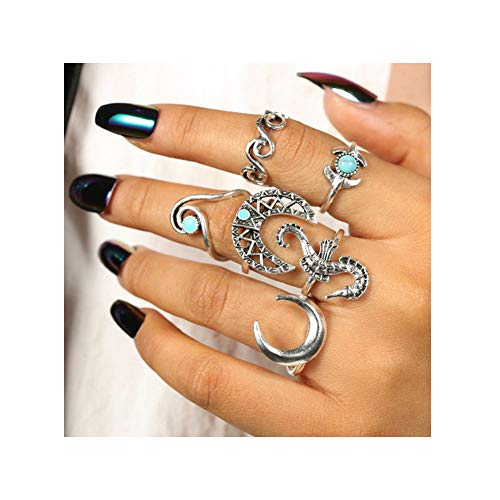 (Bohemian Vintage Wave Rings Turquoise Seahorse Mermaid Tail Crescent Moon Horn Band Statement Rings for Women Girls Jewelry 6 Pcs Set)
