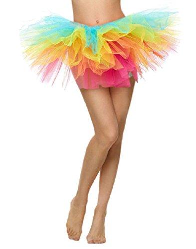 Women's Adult 5 Layered Tutu Dress Mini Tutu Skirt Rainbow - Top Layered Skirt