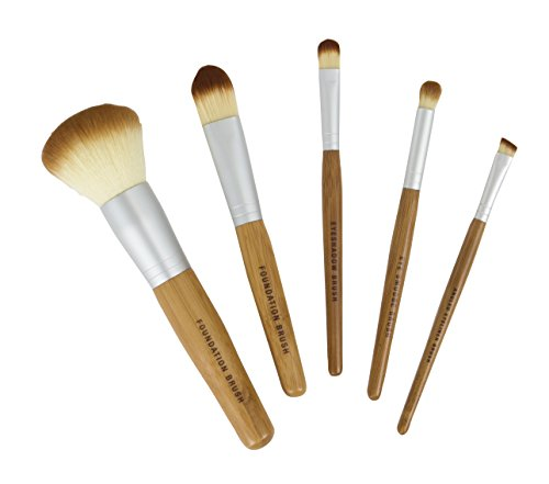 Bamboo Naturals Makeup Brushes, Natural Bamboo Handles, Includes Five Brushes: Powder Foundation Brush, Liquid Foundation...