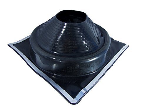 DEKTITE SQUARE PIPE FLASHING BOOT #8 Black EPDM Pipe Flashing Dektite OD pipe size 6 3 4ʺ to 14ʺ ~ Roof Jack Pipe Boot is on site adjustable ~ pipe flashing attaches easily ~ By Deks Dektite