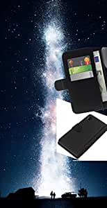 YiPhone /// Tirón de la caja Cartera de cuero con ranuras para tarjetas - Galaxia Vía Láctea - Sony Xperia Z2 D6502