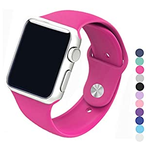 Piwjo Silicone Apple Watch Band and Replacement Iwatch Bands Series 1, Series 2,Series 3(Barbie Pink, 38mm S/M)