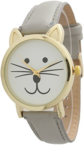 - Cat Face Leather Strap Watch Large Watch Cat Face (Gray)
