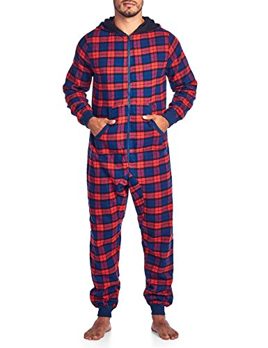 Ashford & Brooks Mens Flannel Hooded One Piece Pajama Union Jumpsuit - Red Navy - -
