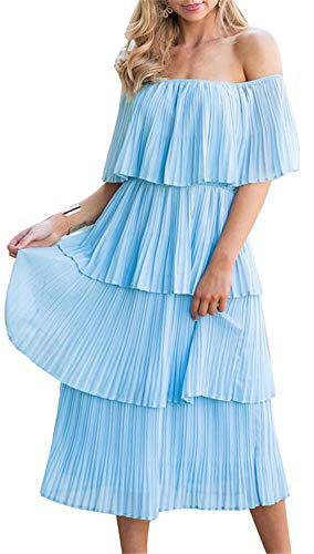 - ETCYY NEW Women's Off The Shoulder Sleeveless Tiered Ruffle Pleated Casual Midi Dress Blue