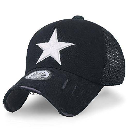 - ililily Star Embroidery tri-Tone Trucker Hat Adjustable Cotton Baseball Cap (Medium, Black Mesh)