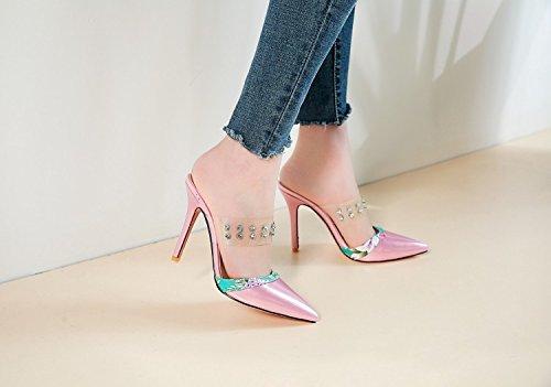JUWOJIA Señaló Verano Transparente Remaches De Amarre La Mujer Diamante High-Heeled Sandals Sandalias De Mujeres De Color Rosa,4,9,5