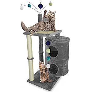 Furhaven Pet Tiger Tough Playground Cat Table, Gray