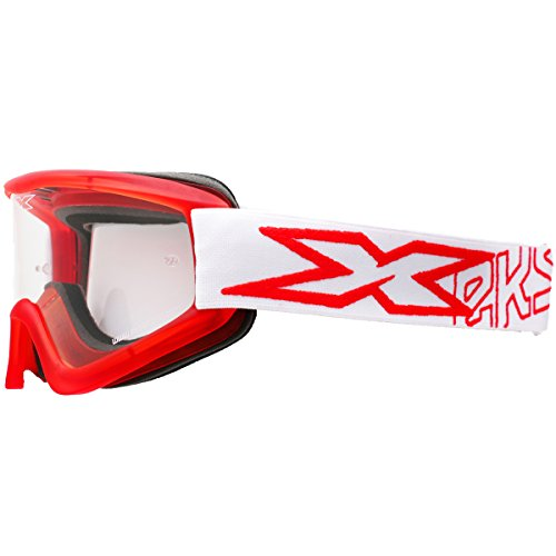 EKS Brand X-BRAND Flat Out Goggles Adult MX Motorcycle Goggles Eyewear - Liquid Red White / One Size Fits All (Stars Off Road Goggles)