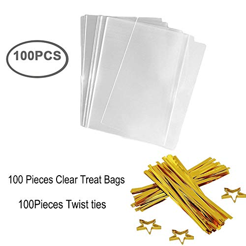 (Clear Treat Bags 100 PCS (6''by 8'') Cellophane Bag Party Favor Bags with 100PCS Gold Twist Ties for Wedding Gift Cookie Candy)